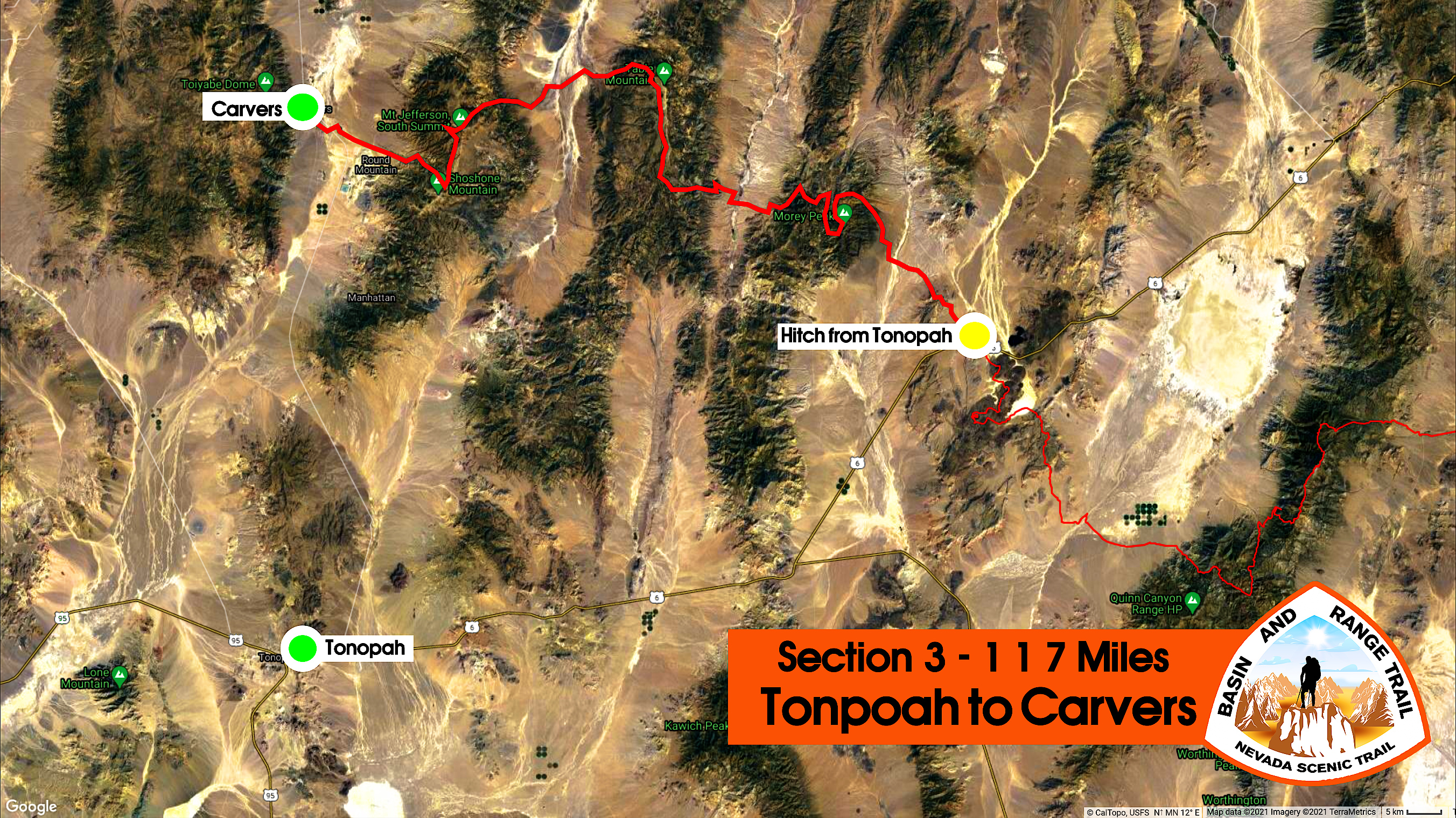 section 3 basin and range trail overview map