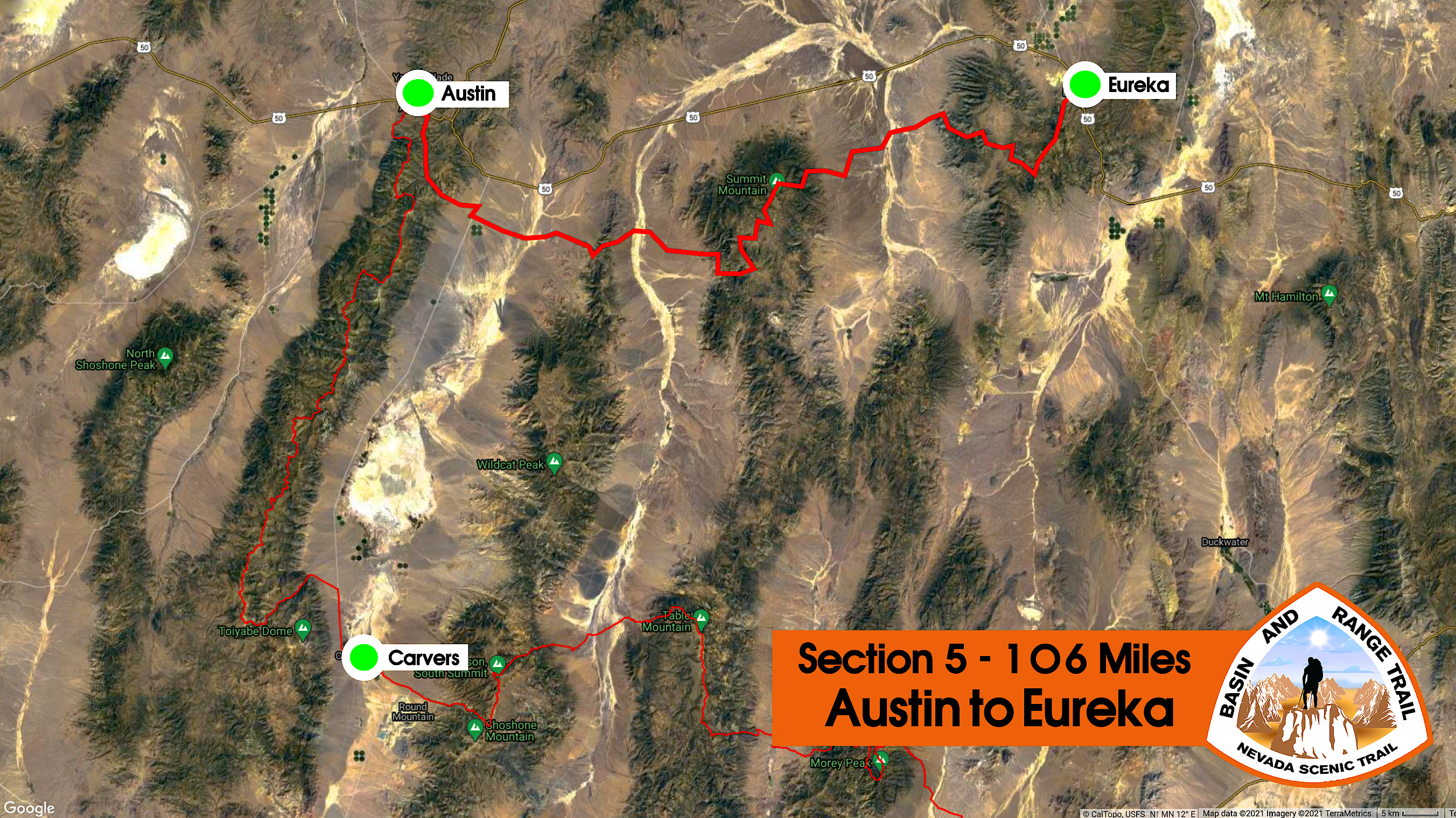 overview map of section 5 of the basin and range trail