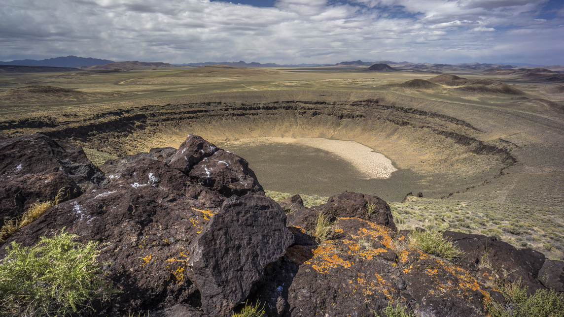 view of lunar crater in nevada along the basin and range trail