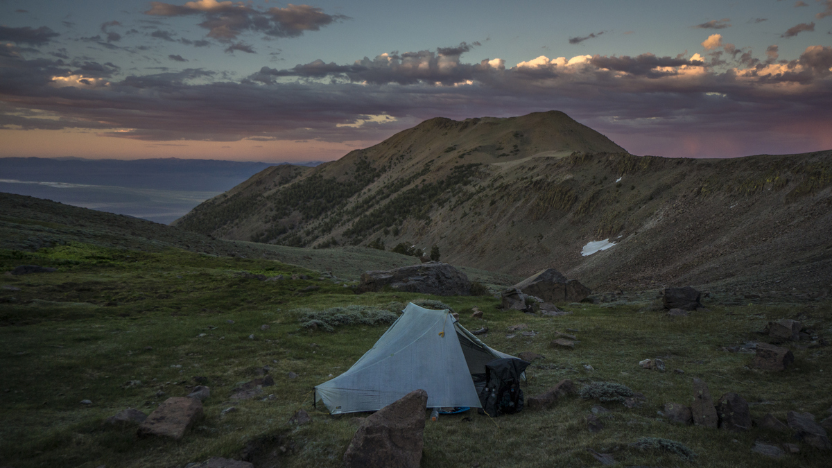 hiker's tent in the toquima range mountains along the basin and range trail