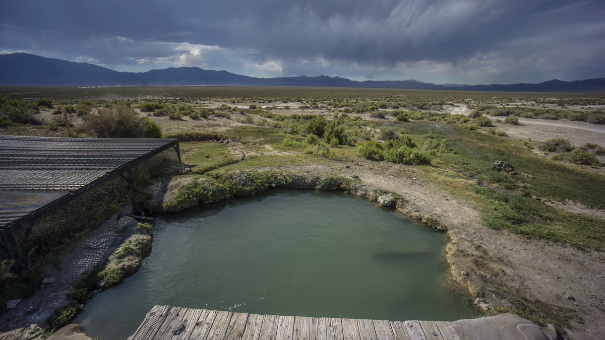 spencer hot springs with view of toiyabe mountain range
