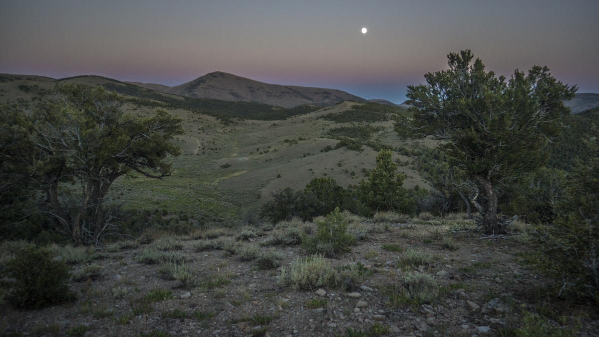 full moon over nevada mountains - monitor range, BRT