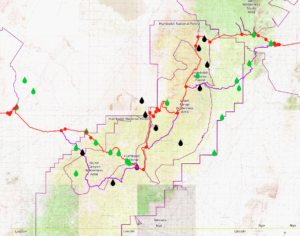 screenshot of the basin and range trail gpx file map