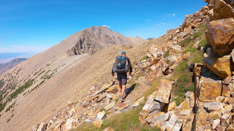 long distance hiker eric poulin backpacking the ridgeline of the snake range in great basin national park on his 2020 brt thru hike